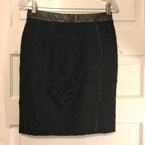 Ann Taylor 2 Petite Black Lace Pencil Skirt NWOT